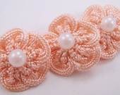 10 Crochet Flower Rosettes Applique in Dusty Rose Pink - Pearl Center - For Headband Applique Embelishment Sew-On Scrapbooking Jewelry