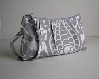 Pleated Wristlet Zipper Pouch / Bridesmaid Gift  - Amsterdam Damask Grey