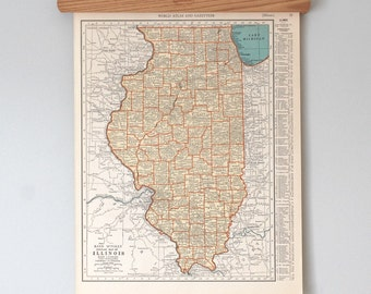 1930s Antique State Map of Illinois and Indiana