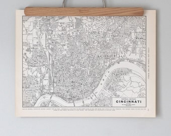 Cincinnati 1930s Map | Antique Ohio City Map