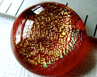 Dichroic Cabochon 19 mm Gold in Cherry Red Fused Glass
