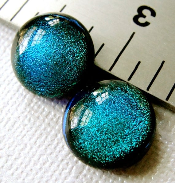 Dichroic Glass Cabochons 13 mm Set of 2 Teal Blue Green