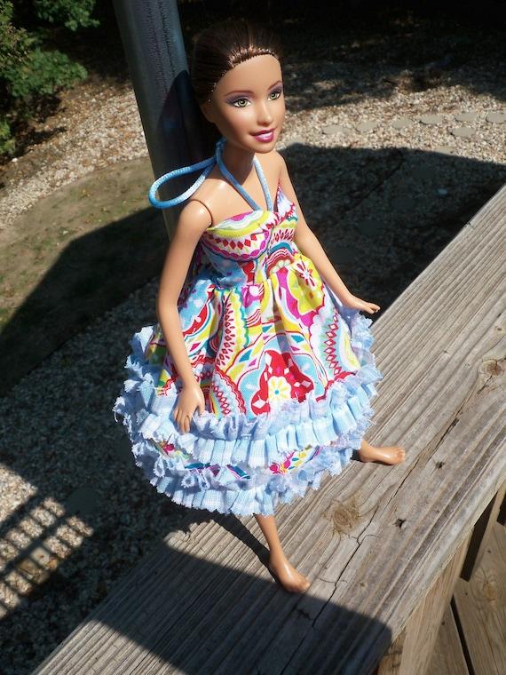 barbie doll dress blue Rhumba Ruffles