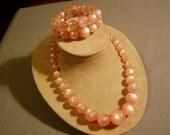 Vintage 1950s Pink Plastic Moonstone Bead Necklace & Matching Spiral Bracelet 3388
