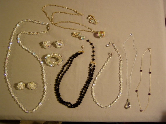 Vintage 1950s Lot Aurora Borealis Crystal & Black Faceted Glass Bead Necklaces Pin Earrings 3452