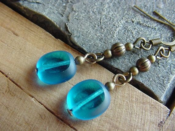 Peggy  //  Aqua Colored Glass / Antique Brass Finish Dangle Earrings