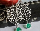 Chandelier Earrings with Bezel Set Emerald Glass-Bridesmaid Earrings