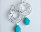 Sliver Chandelier Earrings with Turquoise-Summer Fashion-Bridesmaid Jewelry