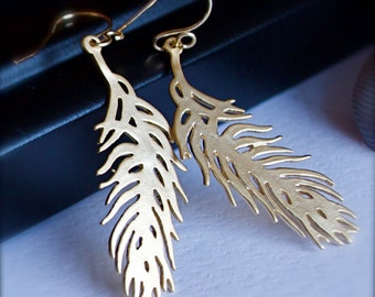 Gold Feather Earrings-Petite Modern Gold Feather Earrings