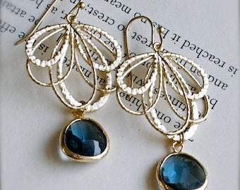 Gold Chandelier Earrings-Blue Topaz-Royal Blue Glass-December Birthstone