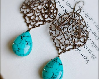 Chandelier Earrings-Antiqued Brass with Turquoise