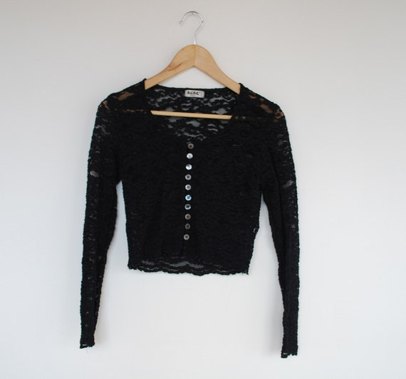 90s Black Lace Cropped Top S