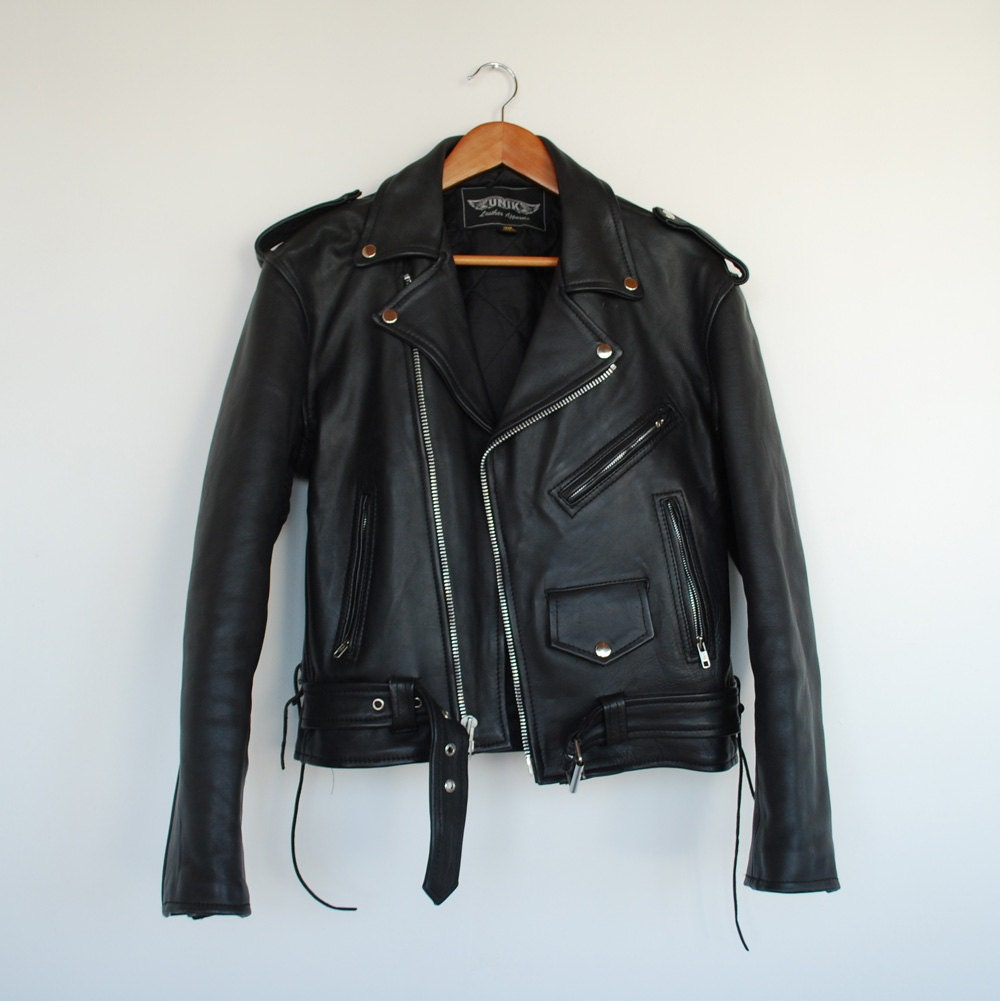 Mens Black Leather Motorcycle Perfecto Jacket S-M