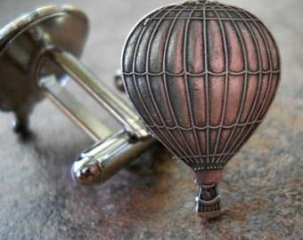 Hot Air Balloon Cufflinks in Silver