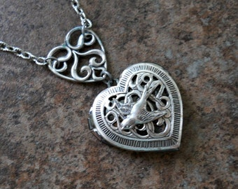 Victoriana Filigree Double Heart Locket Exclusively by Enchanted Lockets
