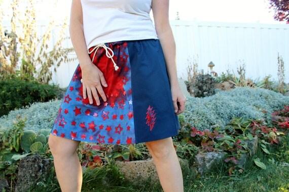 Tie Dyed Red White Blue Short Skirt Pocket 13 Point Bolt Grateful Dead