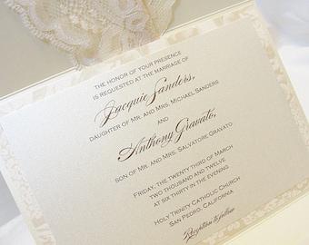 Lace Wedding Invitations, Lace Wedding Invite, Wedding Invitations, Wedding Invite, Floral Invite, Vintage Invitation MARY - HORIZONTAL