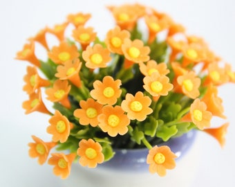 Miniature Polymer Clay Flowers Daisy with Leaves, dollhouse scale, 12 stems