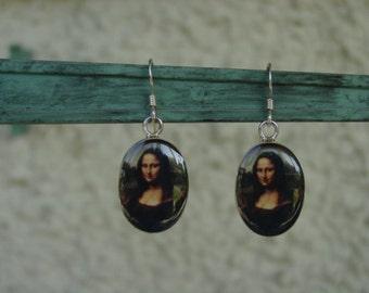 Mona Lisa Enamel Earrings Sterling Silver,Mona Lisa Jewelry