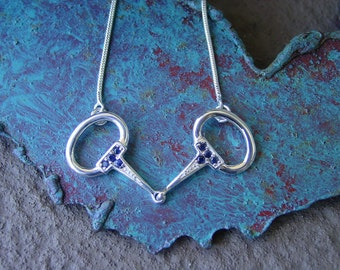 Sapphire Snaffle Bit Necklace .925 Sterling Silver,Bit Necklace,Equestrian Necklace