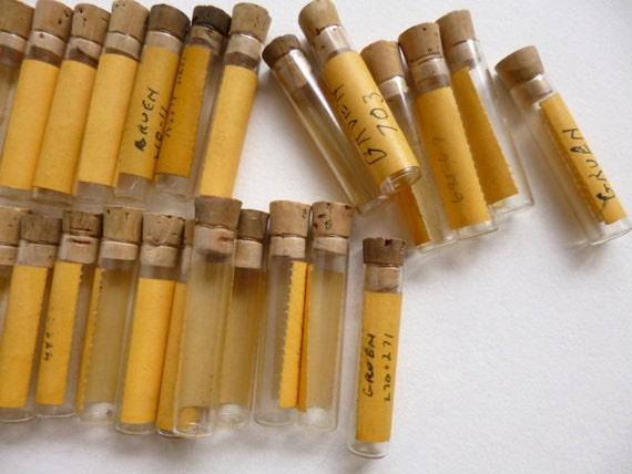 SALE 35pc Glass Vials Watch Part Bottles Cork Lot