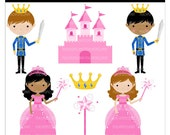 cute clip art digital clipart - Once Upon a Prince and Princess - Digital Clip Art