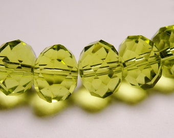 Crystal faceted rondelle -  25 pcs - 10mm by 7mm - AA quality - peridot sparkle