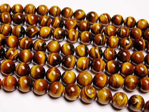 Tiger eyes 10 mm round A quality 38 beads - 1  full strand