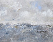 Abstract Seascape Ocean Painting - Landscape with Texture 20 x 10