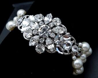 Bridal Bracelet, Ivory Swarovski Pearls, Pearl Bridal Bracelet, Pearl Rhinestone Bracelet, Statement Bridal Bracelet, Pearl, Cuff, SAVANNAH