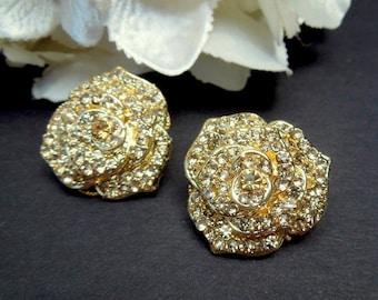 Gold Bridal Rhinestone Earrings, Stud Rose Earrings, Statement Bridal Earrings, Bridal Stud Earrings, Bridal Rhinestone Earrings ROSIE