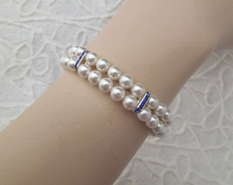 ivory swarovski pearl and crystal Bracelet Statement Bridal Bracelet Bridal Cuff Wedding Rhinestone Bracelet something blue  FRANCESCA