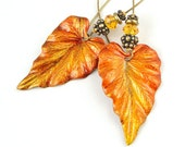 Leaf Earrings Autumn Jewelry Fall Jewelry Pumpkin Orange Leaves Woodland Rustic Antique Brass Earrings