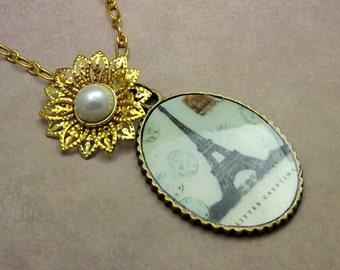 Paris Flower Necklace Large Oval Pendant Gold Flower Pearl Center