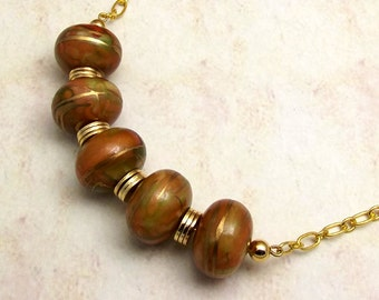 Burnt Orange Gold Beaded Chain Necklace with Green, Chunky