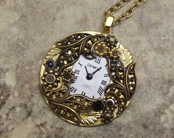 Victorian Filigree Clock Necklace Antiqued Gold Black White Round Pendant