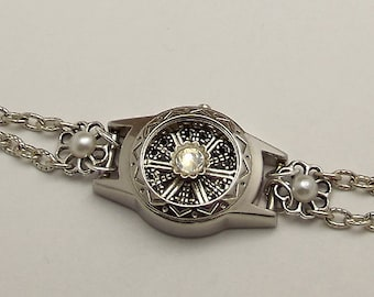 Watch Case Bracelet Antiqued Silver Filigree, Crystal, Pearls