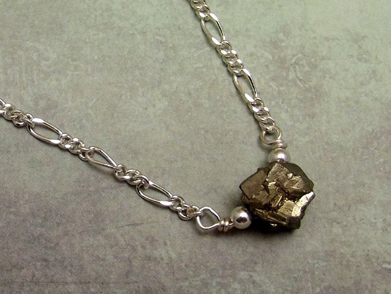 Pyrite Nugget Necklace Fools Gold on Silver Chain