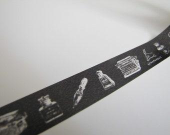 Washi Tape-Masking Tape-Single Roll- Black and White Type Writer-Vintage Type Writer