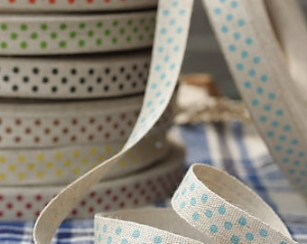 Ribbon-BluePoka Dots on Linen-Cotton and Linen-Scrapbooking-Sewing-Embellishment