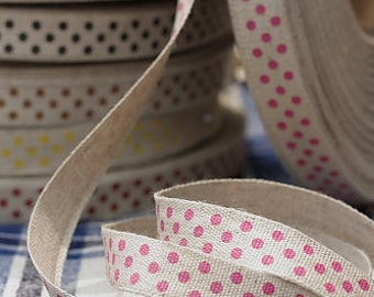 Ribbon-Red Polka Dots on Linen-Cotton and Linen-Scrapbooking-Sewing tape-Embellishment