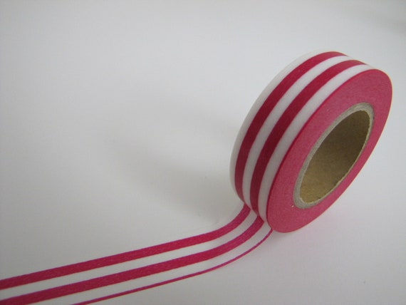 Washi Tape-Masking Tape-Single Roll-Pink and white striped Tape
