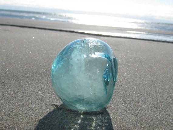 Authentic 3-Piece Mold Glass Fishing Float - Ice Blue, Alaska Beachcombed