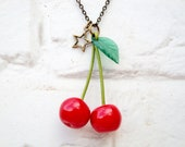 Cherry Necklace - Red and Green Cherries Jewel - Brass chain necklace - Hand made with Love by Lolita