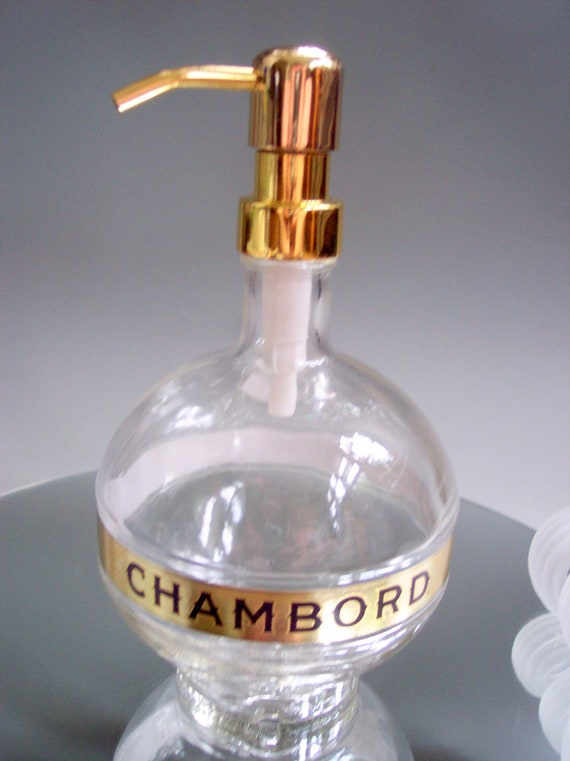 LARGE Upcycled/ Eco-Friendly Gold Chambord Liqueur Soap Dispenser Repurposed Glass Bottle