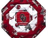 Boomer Sooner OU Mug Rug, handmade football Oklahoma, table mat B, 10 x 10