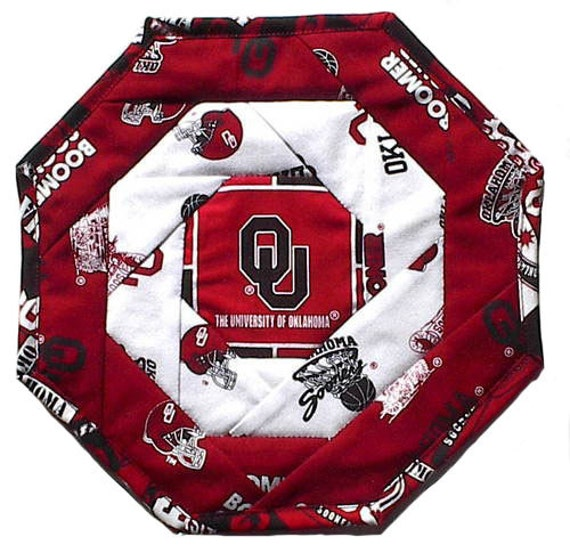 Boomer Sooner OU Mug Rug Handmade Football Oklahoma Table