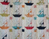 Dreamy Baby Sailboats Quilt with Lucy's Crab Shack by Dreamy Vintage Sheets on Etsy