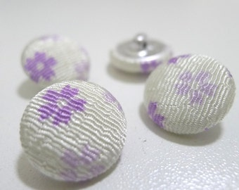 SALE - C02 (L) Japanese Fabric Covered Buttons (18 mm) - Set of 4 - Purple Sakura Blooms