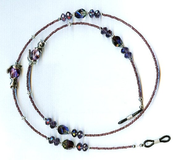 Sweet Kitty Beadcap & Purple Glass Beaded Eyeglass Chain or ID Badge Lanyard